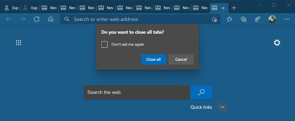 Microsoft Edge tab warning