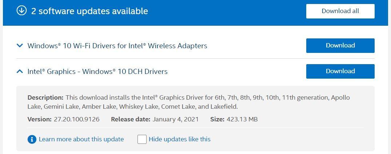 Intel January driver update